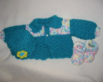 Crocheted Baby Layette Set/Shower Gift