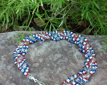 Star Spangled Spiral Beaded Bracelet