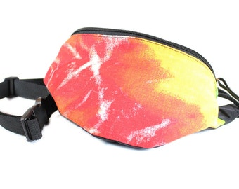 Fanny pack Tye Dye fabric - Cute  - Hip Waist Bag - 2 - Zippered Compartments