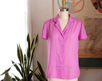 vintage sheer blouse . 80s polka dot magenta top . womens small to medium