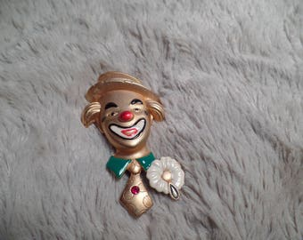 1980's Cute Clown Brooch Signed Danecraft