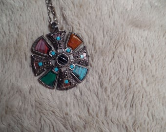 Celtic Style Pendant with Multi-Colored Stones