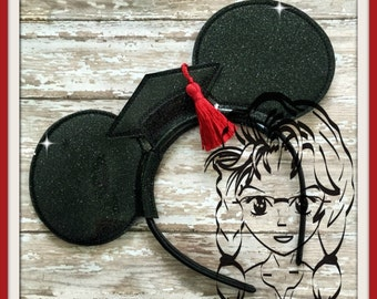 GRADUATION Cap School Inspired (3 Piece) Mr Miss Mouse Ears Headband ~ In the Hoop ~ Downloadable DiGiTaL Machine Emb Design by Carrie