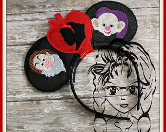 APPLe PRiNCESS DWaRF Characters (3 Piece) Mr Miss Mouse Ears Headband ~ In the Hoop ~ Downloadable DiGiTaL Machine Emb Design by Carrie