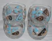 Amoeba Boomerang Federal Glass Roly Poly Bar Glasses Mid Century Modern