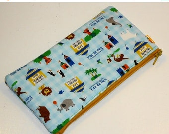SALE SALE SALE - 20% Off Xl Kawaii Pencil Case / Circus Animals Padded Zippy Pouch / Whimisical Clutch Purse / Cosmetic Bag /  Long Wallet--