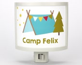 Personalized Camping night light Customizable childrens nightlights nursery nightlight outdoors theme gift for baby shower gifts under 25