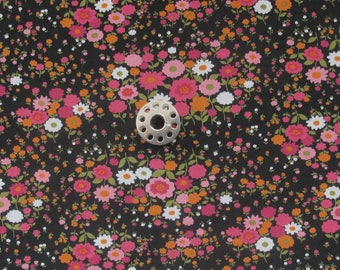 FAT EIGHTH Sevenberry Japanese Quilting Cotton Fabric | Pink floral print fabric with a black background.
