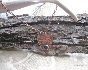 Egyptian Etched Copper Planchette   Eye of Horus Planchette   Egyptian Revival   Egypt Pendant   Amethyst Planchette Pendant   Gift For Her