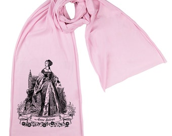 Anne Boleyn Screen printed Cotton Scarf