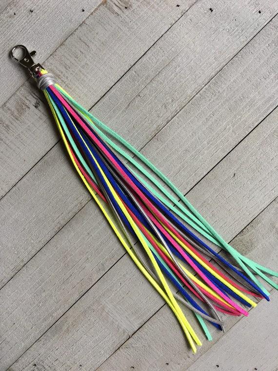 """Tassel Bag Charm - 10"""" Long Bright Colors Handbag Charm Purse Tassel Charm Boho Chic Tassel Purse Jewelry Gift for Her (KC 245)"""