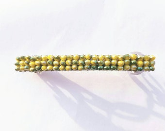 Beaded Barrette, Yellow and Green, Hair Clip,Handmade, Oregon Ducks Colors