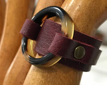 Oxblood Leather and Tortoise Shell Ring Size 9 - ALL PROFITS donated to the ACLU