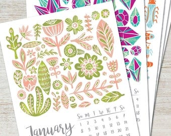 COLLECTIONS Printable Desk Calendar 2017 2018 Instant Download Illustration Handpainted Pattern Art PDF Wall Decor Monthly Yearly Planner
