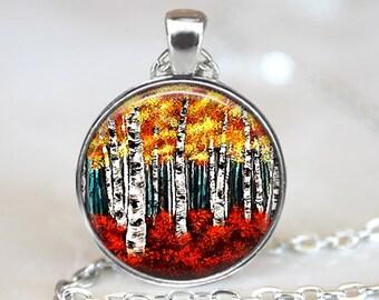 Colorful Birch Pendant, Birch Forest Pendant, Birch Forest Necklace, Birch Art Pendant, Bronze, Silver, Birch Tree Glass Pendant, 158