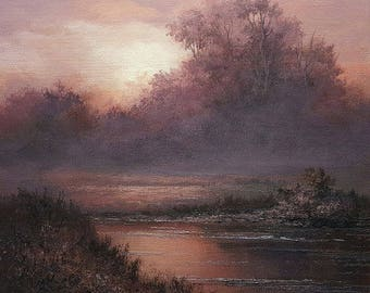 Romantic Landscape, Original Fine art, Acrylic, Tonalist Painting by Griselda Tello.