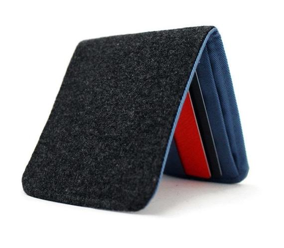 SALE Mens Grey Wool Wallet / Minimalist Billfold Fabric Wallet / Nonleather