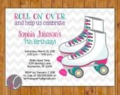 Rollschuh Geburtstag Party rosa lila Petrol überfahren Sie auf Roller-Skates Skaten Einladung 6. 7. 8. druckbare 5 x 7 digitale JPG-Datei (426)