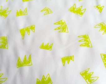 Fabric panel - Crowns in fluoro on organic cotton. Textiles designed and screen printed in Melbourne.