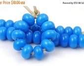 Boxing Week Sale Turquoise - Handmade Artisan Lampwork Glass Beads 5mmx9mm - SRA (Set of 10 Spacer Beads)