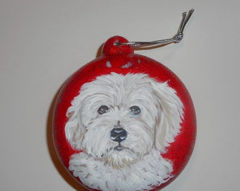 Coton De Tulear dog Custom Hand Painted Ceramic Christmas Ornament Decoration