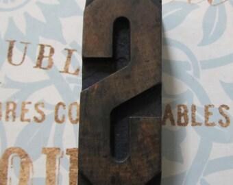 Antique Letterpress Wood Type Printers Block Letter S
