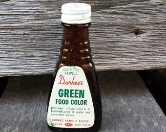 Vintage Durkee's Green Food Color - glass bottle