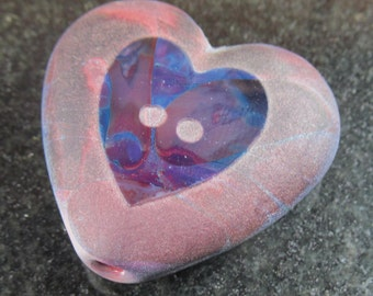 Carved multicolor button heart focal lampwork bead