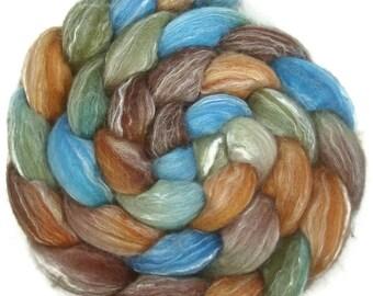 Handpainted Merino Bamboo Silk Roving - 4 oz. COPPER HILLS - Spinning Fiber