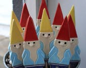100 Handmade Pottery Gnome Wedding Favor - Garden Stake, Magnet or Ornament - 3-5 Weeks for Delivery