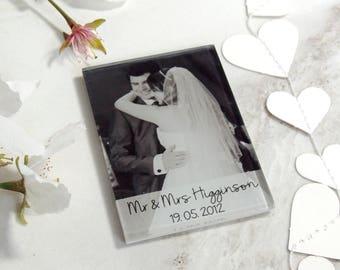 Personalised glass photo fridge magnet, choose your photo & message, Wedding, New Baby, Christening, Anniversary, Birthday gift -