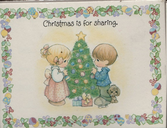 Christmas is for Sharing Party invitations (Set of 8) - 1993 - Vintage Stationery