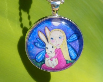 Blonde Girl Rabbit Necklace little girls gift Rabbit Necklace Gift for Friend Little Girls Jewelry silver plated Jewellery Rabbit Pendant