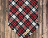Red, Black and White Plaid Flannel Square Fringed Tie On Dog Bandana