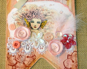Pink Fairy Fantasy and Flowers Altered Wood Banner Mixed Media Original Collage Fairy Wall Hanging Fairy Wall Art