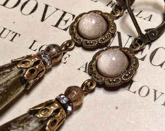 Palest Pink and Mercury Antique Brass Art Deco Vintage Inspired Drop Earrings