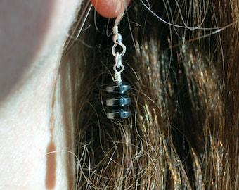 Haematite gemstone drop earrings