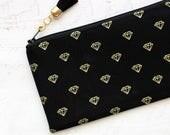 Diamonds black pencil case - black pencil pouch - gold pencil bag - tassel charm -  zipper pouch - makeup bag - black cosmetics pouch