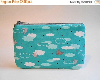 SALE - Camera bag / small zipper pouch - Birds and clouds on aquamarine