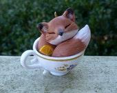 Fox Tea Cup Ornament Myxie Pal Sculpture