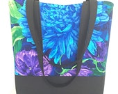 Large tote bag, Blue, purple, flowers, handbag, tote bag, womens handbag, purse, pockets, shoulder bag,