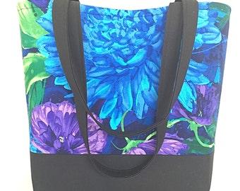Large flower tote bag, Blue handbag, Women's handbag, Shoulder bag, Large Tote bag, Shopping bag, Market Tote bag, Fabric Tote bag,