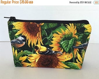 SALE Sunflower makeup bag, cosmetic bag, Purse organizer, Zipper pouch, gift for her, gift for women, gift for girlfriend