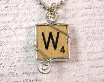 Scrabble Letter W Pendant Necklace