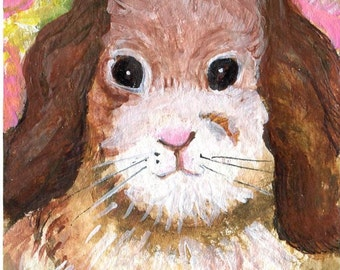 ACEO original Bunny Rabbit painting, art card,  Farmhouse decor,  Lop Ear Brown and White rabbit art card