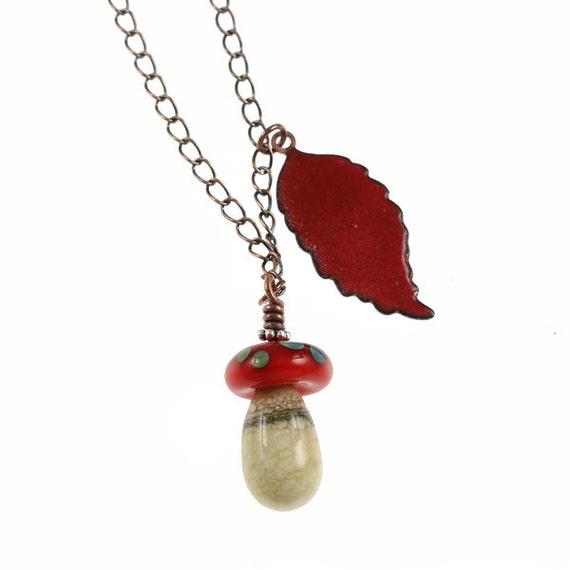 Leaf and Mushroom Necklace - Handmade Lampwork and Enameled Copper Tassel Necklace