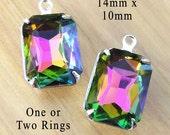 Rainbow Vitrail Glass Beads, Framed Glass Pendant, Earring Jewels, 14mm x 10mm, Octagon, Rhinestone, Cabochon, Glass Gems, One Pair