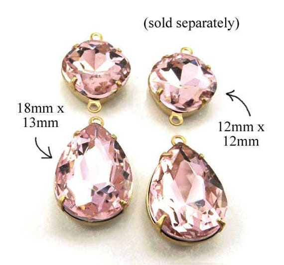 pink glass teardrop beads and cushion cut octagons ... framed glass pendant and earring jewels
