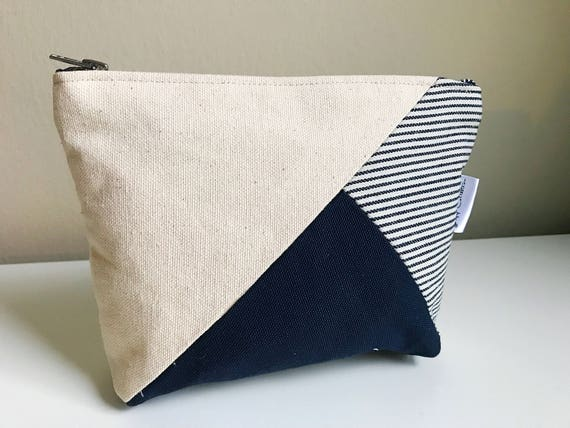 Canvas Cosmetic Pouch, Makeup Bag, Blue Toiletry Bag, Cosmetic Bag, Travel Canvas Bag