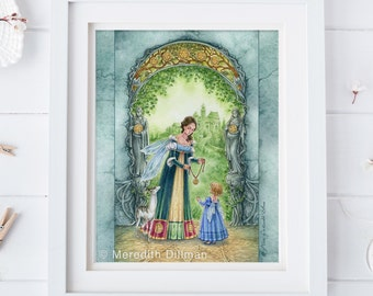 Mother and Daughter art, Tarot art print, Coins, 10 of Pentacles, Ivy leaves, fairy art, fantasy, illustration 8x10